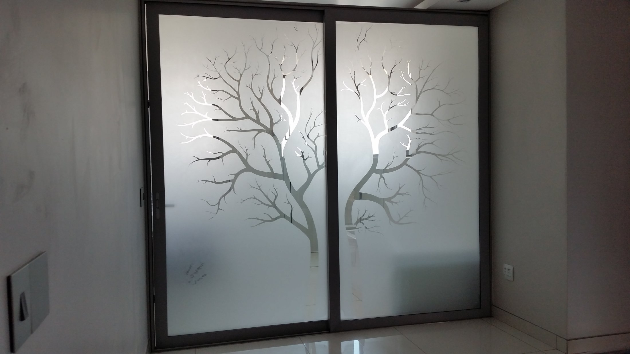 SandBlasting Double Glazed Sliding Shower Door